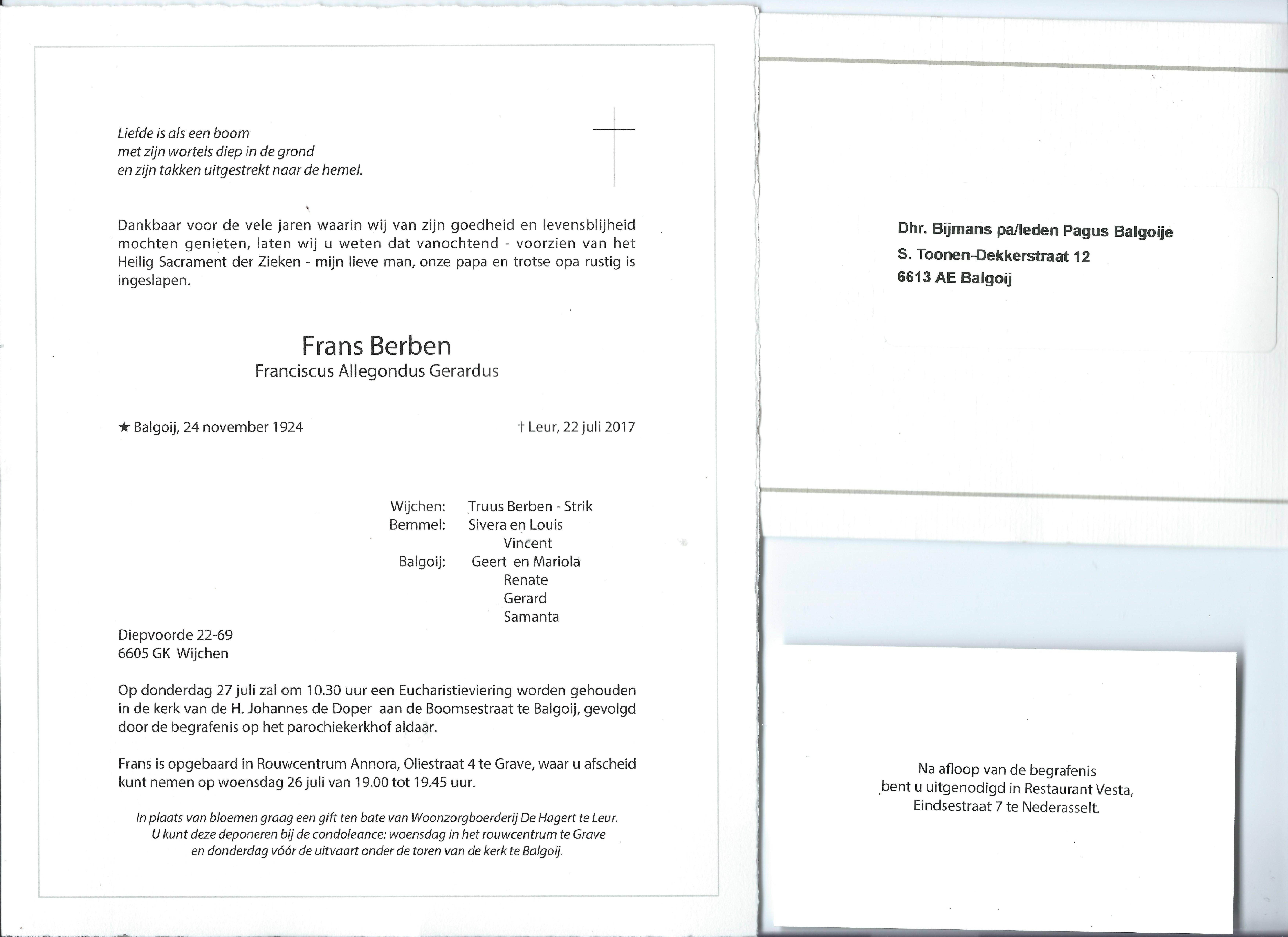 Rouwkaart Frans Berben