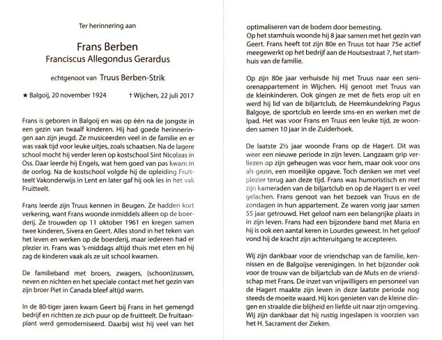 Tekst bidprentje Frans Berben